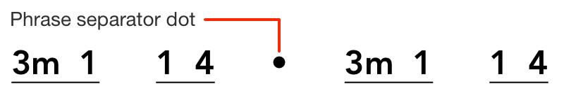 Phrase separator dot